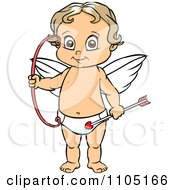 Clipart Happy Cupid Standing With A Bow And Arrow Royalty Free Vector Illustration