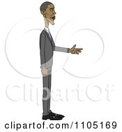 Clipart Caricature Of Barack Obama Holding His Hand Out Royalty Free Vector Illustration