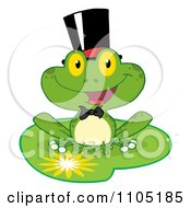Clipart Happy Frog Groom On A Lilypad Royalty Free Vector Illustration
