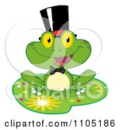 Clipart Happy Frog Groom On A Starry Lilypad Royalty Free Vector Illustration