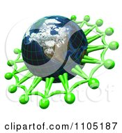 3d Lime Green Men Holding Hands And Networking Around An American Globe