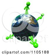 3d Lime Green Men Standing On A Grid Globe
