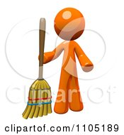 Poster, Art Print Of 3d Orange Man Standing With A Broom
