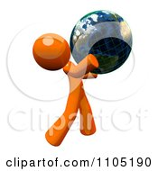 3d Orange Man Holding A Grid Globe