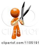 Clipart 3d Orange Man Holding Up Pruning Clippers Royalty Free CGI Illustration