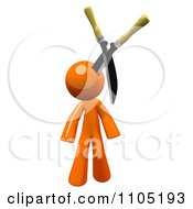 Clipart 3d Orange Man With Pruning Clippers In His Head Royalty Free CGI Illustration