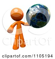 3d Orange Man With A Grid Globe