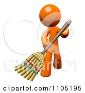 Poster, Art Print Of 3d Orange Man Using A Broom