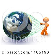 Poster, Art Print Of 3d Orange Stretching The Grid Around A Globe