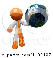 Poster, Art Print Of 3d Orange Man Scientist Holding A Grid Globe