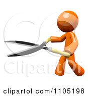 Poster, Art Print Of 3d Orange Man Using Pruning Clippers