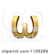 3d Gold Greek Small Letter Omega Clipart Royalty Free CGI Illustration