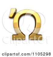 3d Gold Greek Capital Letter Omega With Tonos Clipart Royalty Free CGI Illustration