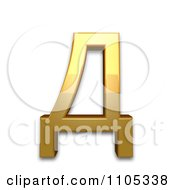 3d Gold Cyrillic Capital Letter De Clipart Royalty Free CGI Illustration