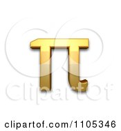 3d Gold Greek Small Letter Pi Clipart Royalty Free CGI Illustration