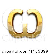 3d Gold Cyrillic Capital Letter Omega Clipart Royalty Free CGI Illustration