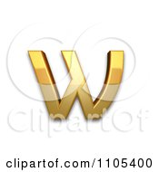 3d Gold Cyrillic Small Letter Omega Clipart Royalty Free CGI Illustration