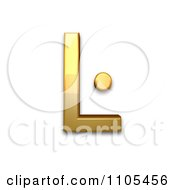 3d Gold Capital Letter L With Middle Dot Clipart Royalty Free CGI Illustration