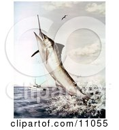 Clipart Illustration Of A Striped Marlin Fish Jumping To Bite A Fishing Line by JVPD #COLLC11055-0002