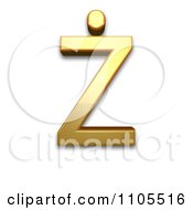 3d Gold Capital Letter Z With Dot Above Clipart Royalty Free CGI Illustration