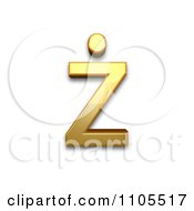 3d Gold Small Letter Z With Dot Above Clipart Royalty Free CGI Illustration