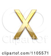 3d Gold Greek Capital Letter Chi Clipart Royalty Free CGI Illustration