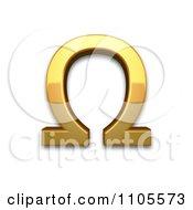 3d Gold Greek Capital Letter Omega Clipart Royalty Free CGI Illustration