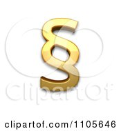 3d Gold Section Sign Clipart Royalty Free CGI Illustration by Leo Blanchette