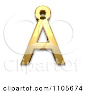 3d Gold Capital Letter A With Ring Above Clipart Royalty Free CGI Illustration