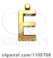 3d Gold Capital Letter E With Dot Above Clipart Royalty Free CGI Illustration