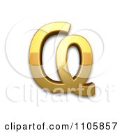 3d Gold Cyrillic Capital Letter Abkhasian Ha Clipart Royalty Free CGI Illustration by Leo Blanchette