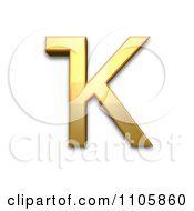3d Gold Cyrillic Capital Letter Bashkir Ka Clipart Royalty Free CGI Illustration by Leo Blanchette