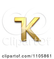 3d Gold Cyrillic Small Letter Bashkir Ka Clipart Royalty Free CGI Illustration by Leo Blanchette