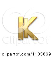 3d Gold Cyrillic Small Letter Ka With Vertical Stroke Clipart Royalty Free CGI Illustration by Leo Blanchette