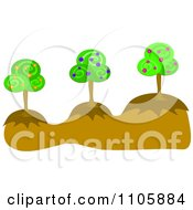 Clipart Three Fruit Trees On Hills Royalty Free Vector Illustration