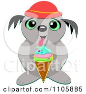 Clipart Happy Gray Dog Licking A Waffle Ice Cream Cone Royalty Free Vector Illustration by bpearth