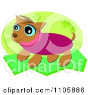 Clipart Happy Weiner Dog In A Pink Sweater Over A Green Floral Oval Royalty Free Vector Illustration
