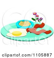 Plate With Eggs Bacon And Oatmeal