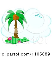 Clipart Tropical Palm Tree Gulls And Cloud Frame Royalty Free Vector Illustration by bpearth