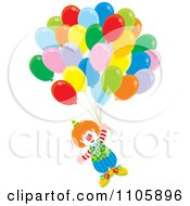 Clipart Happy Clown Floating With Balloons Royalty Free Vector Illustration