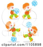 Clipart Happy Clowns Playing With Balls Royalty Free Vector Illustration by Alex Bannykh