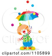 Happy Clown With An Umbrella And Balls