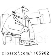 Outlined Businessman Sitting And Holding Up A Piece Of Paper