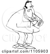 Clipart Outlined Businessman Jotting Down Notes Royalty Free Vector Illustration