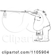 Clipart Outlined Native American Man Using A Dart Blowgun Royalty Free Vector Illustration by djart