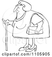 Clipart Outlined Granny Woman Using A Cane Royalty Free Vector Illustration