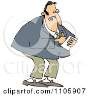 Clipart Businessman Jotting Down Notes Royalty Free Vector Illustration