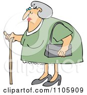 Clipart Granny Woman Using A Cane Royalty Free Vector Illustration