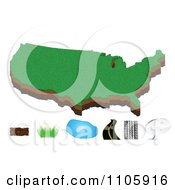 Clipart American Map With Soil Grass Water Road And Chat Icons Royalty Free Vector Illustration by Andrei Marincas