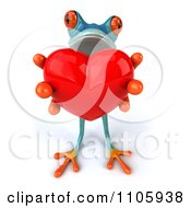 Clipart 3d Turquoise Springer Frog Holding A Heart 1 Royalty Free CGI Illustration